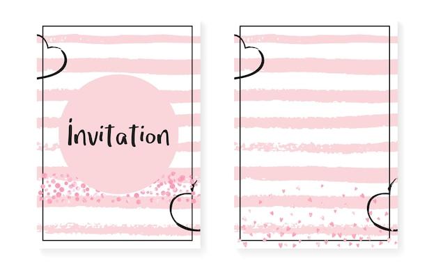 Roze glitterkaarten met stippen en pailletten. bruiloft en vrijgezellenfeest uitnodiging set met confetti. verticale strepen achtergrond. vintage roze glitterkaarten voor feest, evenement, save the date-flyer.