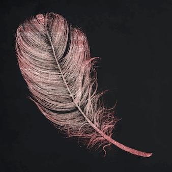 Roze glitterveerelement vector op zwarte achtergrond