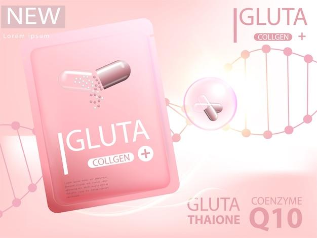 Roze glutathionpak met capsule