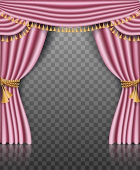 Roze gordijnkader met gouden versieringen op transparant
