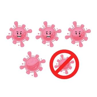 Roze grappige schattige virus bacteriën microbe karakter mascotte set bevatten rood geen teken