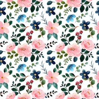 Roze groen bloemen aquarel naadloos patroon