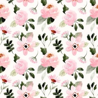 Roze groen bloemenwaterverf naadloos patroon