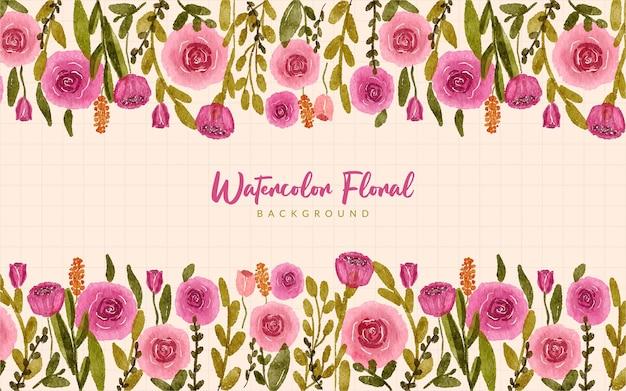 Roze groene bloementuin aquarel grens achtergrond
