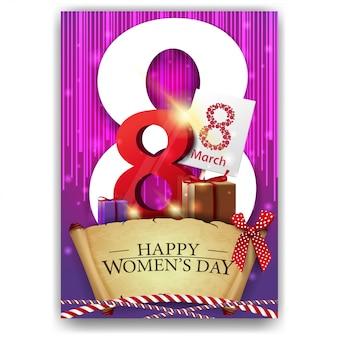 Roze groetprentbriefkaar voor de dag van vrouwen
