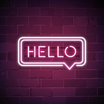 Roze hallo in een neon van de toespraakbel teken
