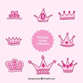 Roze hand getekende kroon prinses collectie