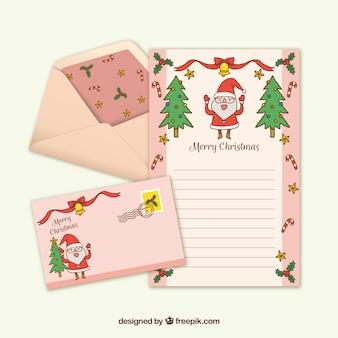 Roze hand getrokken briefsjabloon met een sneeuwpop
