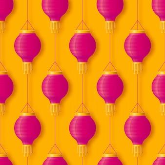 Roze hangende chinese of indiase papieren lantaarn voor festival diwali of chinees gelukkig nieuwjaar naadloos patroon in abstracte popstijl