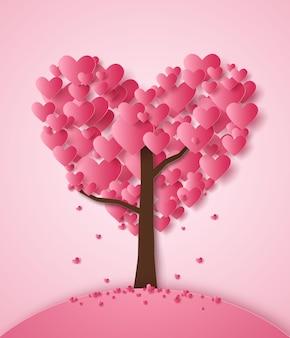Roze hart dat uit de boom valt in papierkunststijl