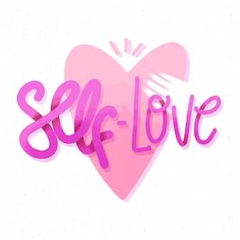 Roze hart en hand zelfliefde belettering