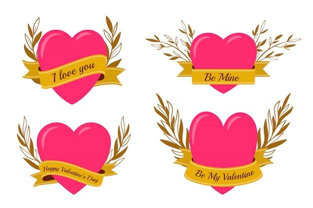 Roze hart met gouden lintreeks