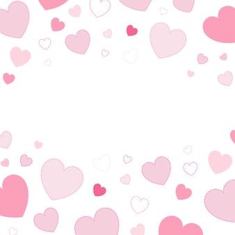Roze harten achtergrondontwerpvector