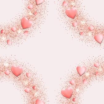 Roze harten en glitter naadloos patroon voor textielprints voor wenskaarten en verjaardagskaarten