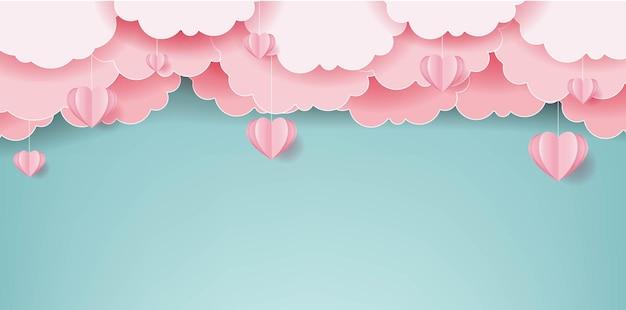Roze harten met wolken