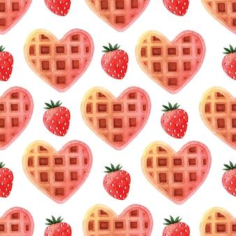 Roze hartwafel met aardbei naadloos patroon