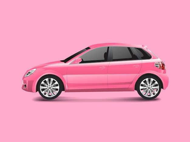 Roze hatchbackauto in een roze vector als achtergrond
