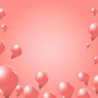 Roze helium ballonnen op roze achtergrond. vliegende latex 3d ballons. vector illustratie.