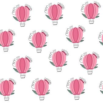Roze hete luchtballon met bloemen naadloos patroon in krabbelstijl.