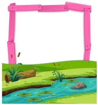 Roze houten frame en rivierlandschap