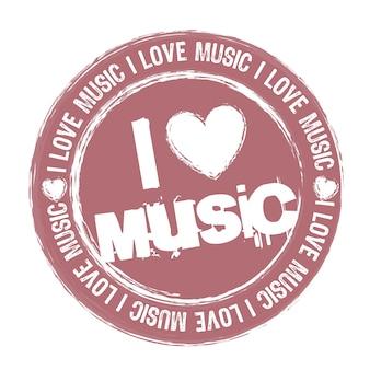 Roze ik hou van muziekstempel