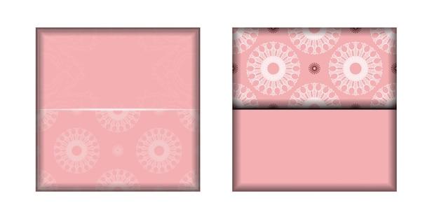 Roze kaart met mandala wit ornament voor uw merk.