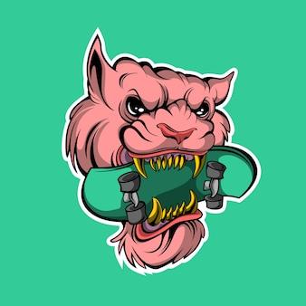 Roze kat skate sticker op groen