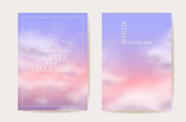 Roze katoenen uitnodiging voor het huwelijk met wolken. vector ontwerp magische pastel achtergrond. luxe pastel bewaar de datum. pluizige wolk sjabloon illustratie kaartenset