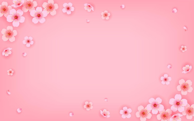 Roze kersenbloesem frame achtergrond