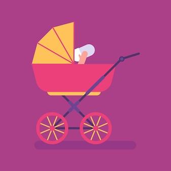 Roze kinderwagen met kleine baby. platte mensen. vectorillustratie