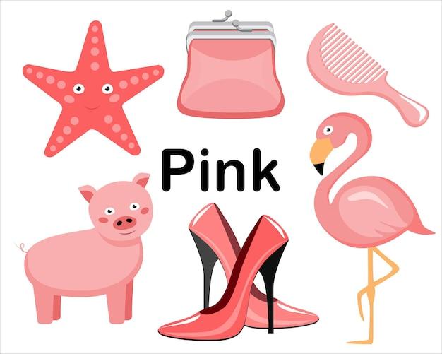Roze kleur. een reeks plaatjes. de collectie omvat schoenen met hoge hakken, roze portemonnee, flamingo, kam, roze varken, zeesterren