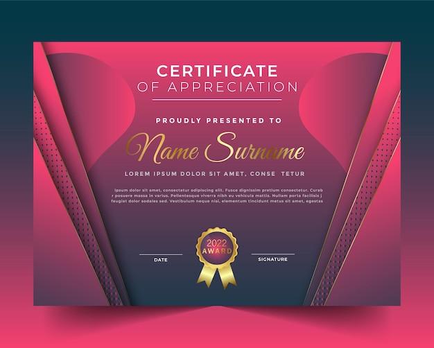 Roze kleur en fantastische certificaatsjabloon