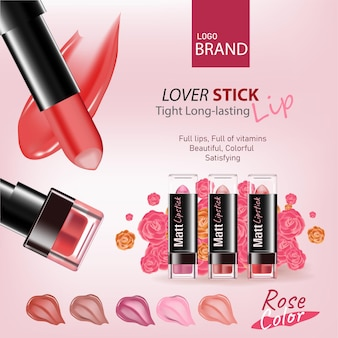 Roze kleurtint lippenstift met cosmetica en bloemen bovenaanzicht op roze achtergrond roze bloem