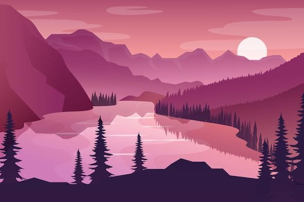 Roze kleurverloop lente landschap