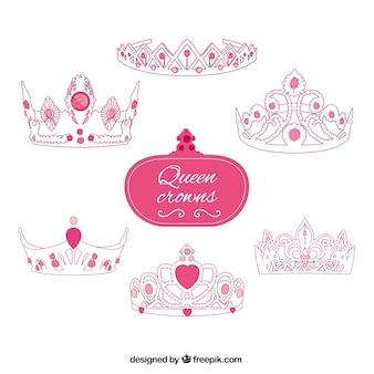 Roze koningin kronen