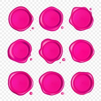 Roze lakzegel set. wax zegel stempel set met druppels geïsoleerd
