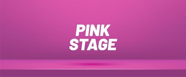 Roze lege studioruimte voor productvertoning. showroom shoot render.