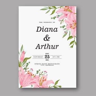 Roze lelie aquarel bruiloft uitnodiging
