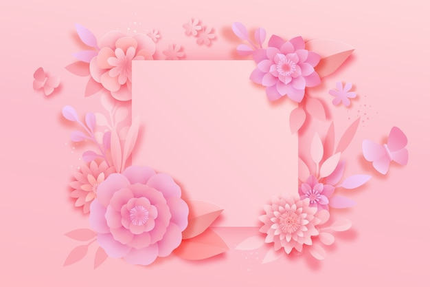 Roze lente achtergrond papieren stijl