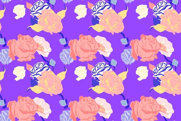 Roze lente bloemmotief vector met rozen paarse achtergrond