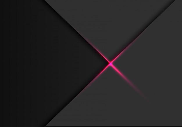Roze lichtlijnkruis op grijs met donkere lege ruimteachtergrond.