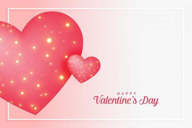 Roze liefdeharten met fonkelingen voor valentijnskaartendag