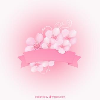 Roze lint met kersenbloesems