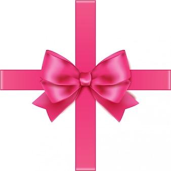 Roze lint met strik op vierkant