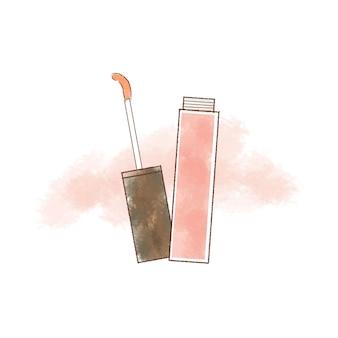 Roze lipgloss hand getekende illustratie.