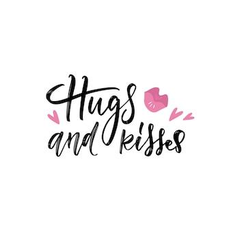 Roze lippenstift print met knuffels en kusjes hand belettering, op witte achtergrond.