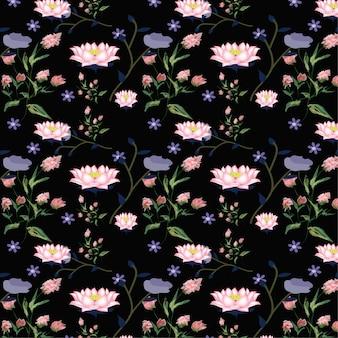 Roze lotusbloem bloemenpatroon.