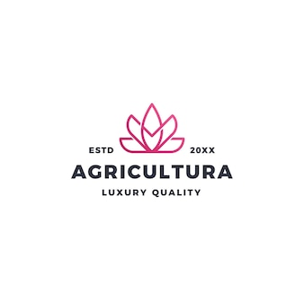 Roze lotusbloem logo en landbouw