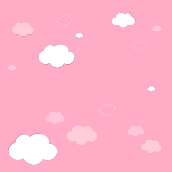 Roze lucht met wolken behang vector