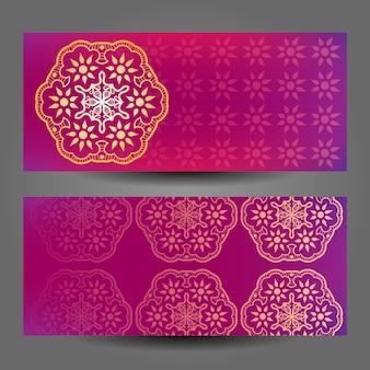 Roze mandala banner ontwerp